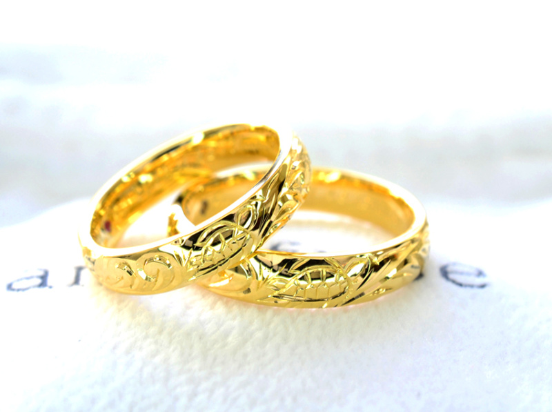 【湘南彫金工房 andfuse】【手作り結婚指輪デザインワックスコース】ホヌ&スクロールを彫刻したハワイアンな手作り結婚指輪