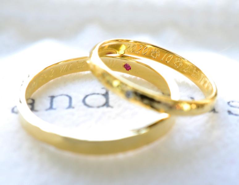 【湘南彫金工房 andfuse】【手作り結婚指輪当日コース】ダイアモンドと誕生石をセットした甲丸みなも仕上げ