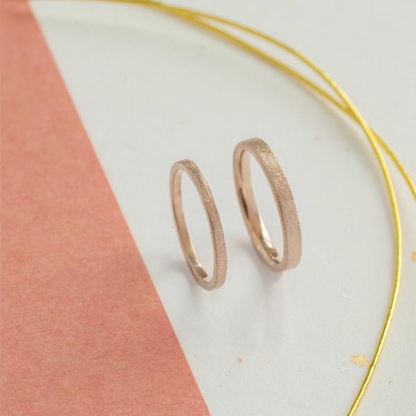 【横浜元町彫金工房】【ふたりでつくる結婚指輪】メンズK18PG&レディースK18PG(マット仕上げ)