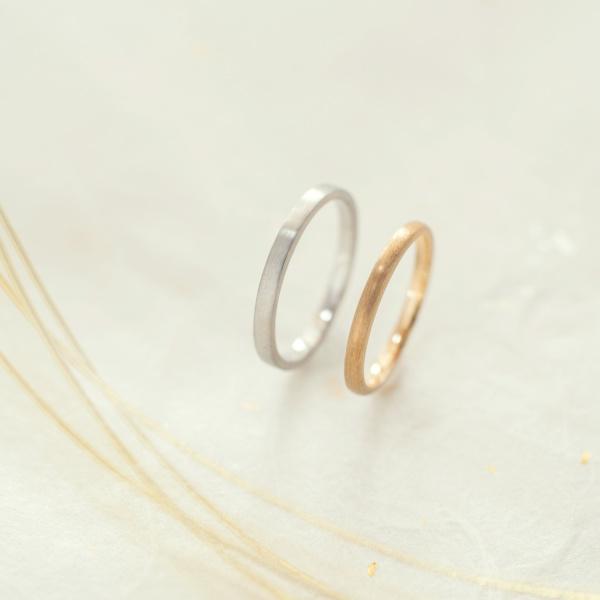 【横浜元町彫金工房】【ふたりでつくる結婚指輪】メンズPt900&レディースK18YG(ヘアライン仕上げ)