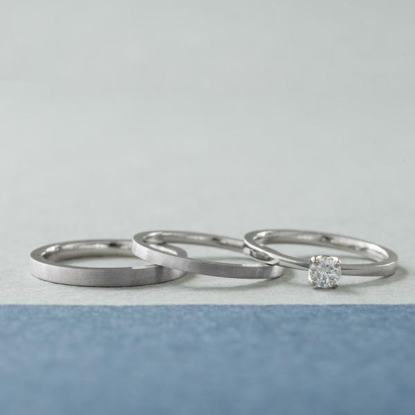【横浜元町彫金工房】【結婚指輪・婚約指輪手作りコース(3本制作)】メンズPt900&レディースPt900(ヘアライン仕上げ)&エンゲージPt900(クリア仕上げ)