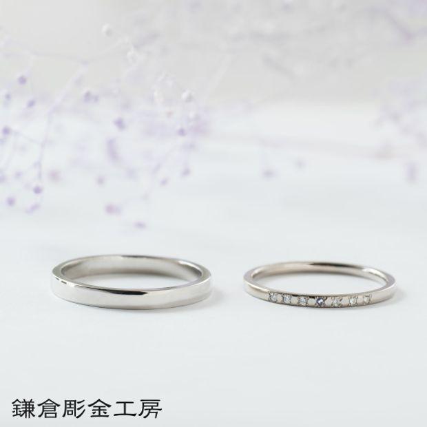 【鎌倉彫金工房(かまくらちょうきんこうぼう)】【ふたりでつくる結婚指輪】メンズpt900&レディースK18WG(クリア仕上げ)