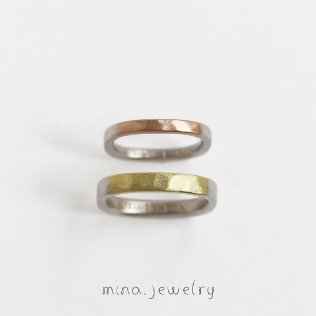 【mina.jewelry(ミナジュエリー)】マルシカクの形を利用したマリッジリング