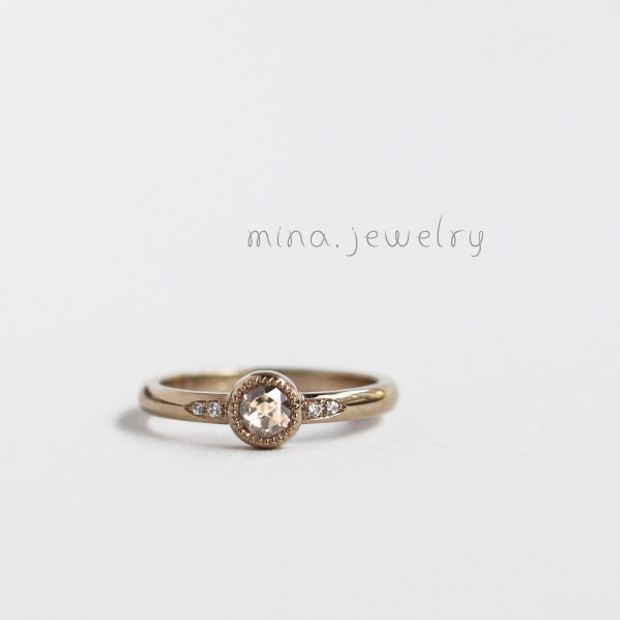 【mina.jewelry(ミナジュエリー)】ローズカットダイヤモンドのエンゲージリング