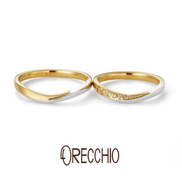 【ORECCHIO(オレッキオ)】ブリランテ~brillante コンビのウエーブラインで品の良さを感じさせる結婚指輪。