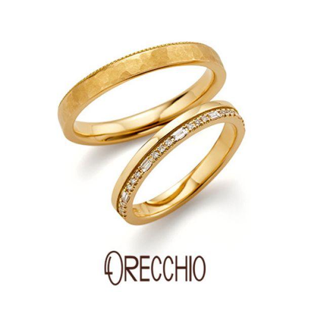 丸と四角のダイヤを並べたエタニティータイプの指輪とシンプルな指輪を重ね着けしたような結婚指輪 ★新作★ safari~サファリ FM‐2223‐K/FM‐2224‐K