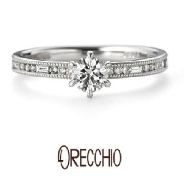 【ORECCHIO(オレッキオ)】グラッツィア~丸×四角のダイヤ×ミル打ちのデザインで存在感のある婚約指輪