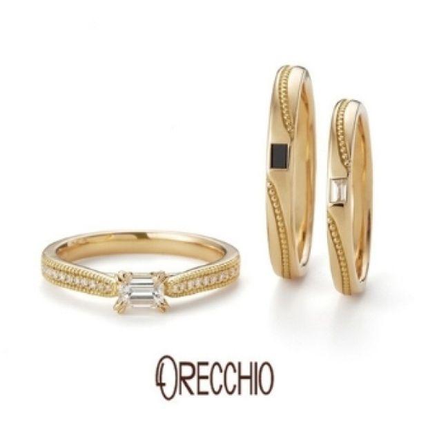 【ORECCHIO(オレッキオ)】フランキンセンス~ミル打ちの曲線とバゲットダイヤが光る着け心地の良い結婚指輪