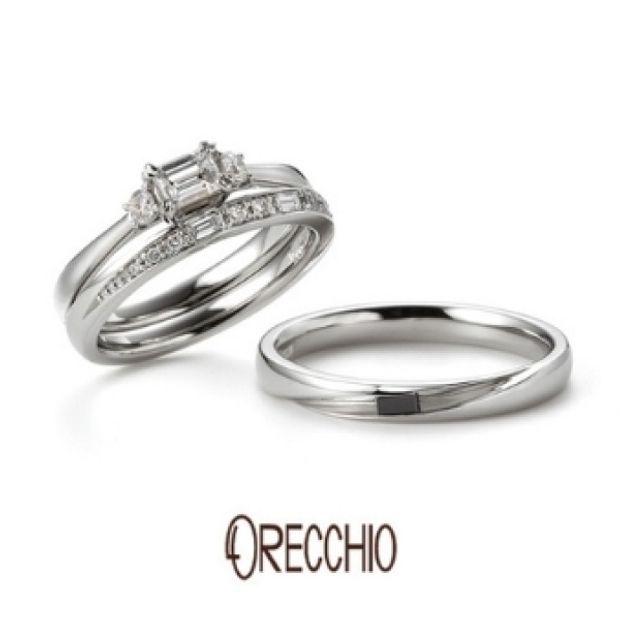 【ORECCHIO(オレッキオ)】タイム~輝きが違うバゲットカットとラウンドカットダイヤが交互に配置された結婚指輪