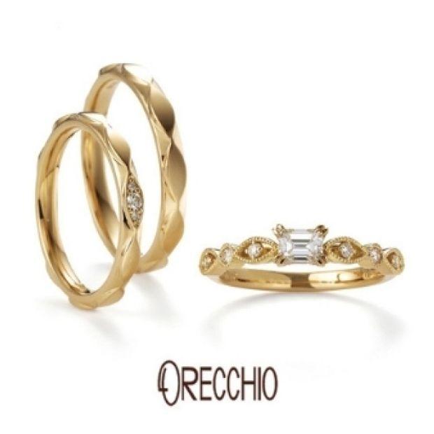【ORECCHIO(オレッキオ)】ゼラニウム~ マーキス型と丸型を交互に配置した花びらのような可憐な婚約指輪