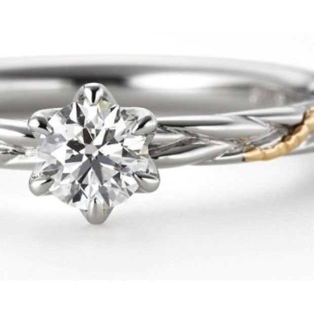 【garden(ガーデン)】カンタービレ ~プラチナとゴールドのコンビで動きのあるデザインの婚約指輪