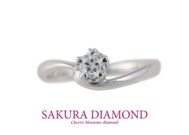 【GemmeoMyM(ジェンメオミィム)】Pt900 さくらダイヤモンド リング