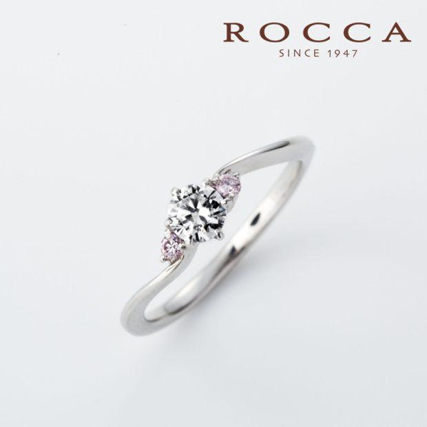 【ROCCA(ロッカ)】【ROCCA】サイドのピンクダイヤが可愛い!シンプルエンゲージリング