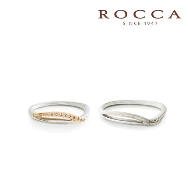 【ROCCA(ロッカ)】【ROCCA】コンビで可愛らしい雰囲気の繊細なV字のマリッジリング!