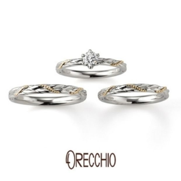 【VANillA(ヴァニラ)】カンタービレ ~プラチナとゴールドのコンビで動きのあるデザインの婚約指輪