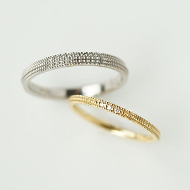 【Fuligoshed(フーリゴシェド)】フランダースカットダイヤモンド Plain ring &  アラウンド・ミルリング -around mille ring-