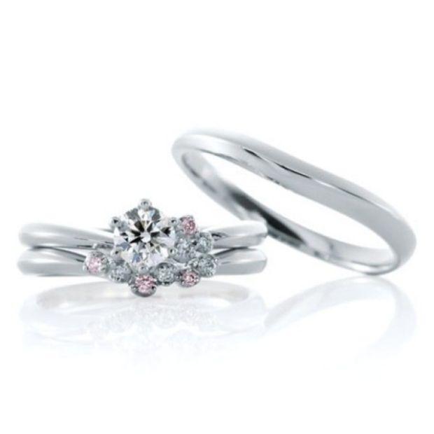 【ジュエリーIKEDA(池田時計店)】【ジャルダンドゥロゼ】ホワイトダイヤ・ピンクダイヤを爪留めした華やかリング