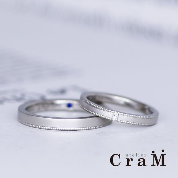【atelier CraM(アトリエ クラム)】鍛造マリッジリング|ミルグレインのシンプルスクエアデザイン【セミオーダー】
