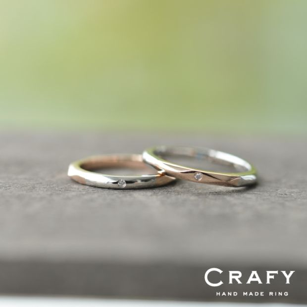 【CRAFY(クラフィ)】☆ふたりで作る☆結婚指輪 K18PG&PT900