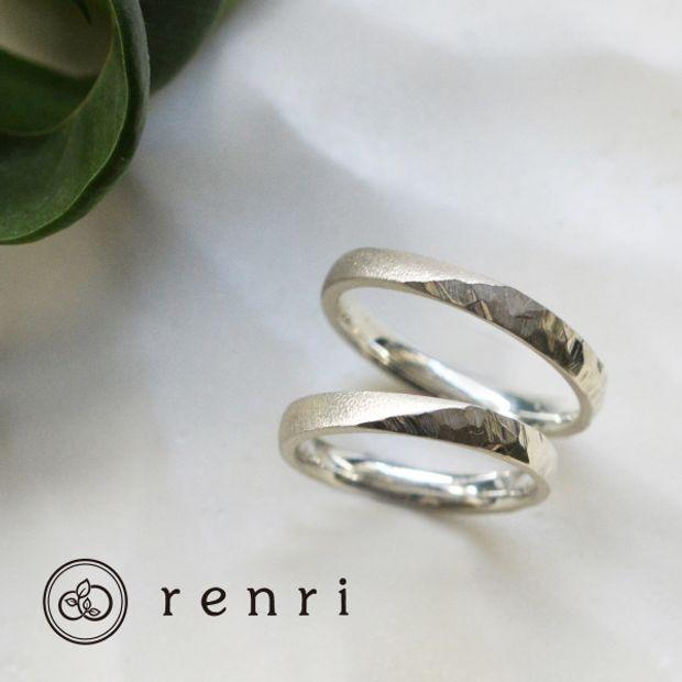 【renri(レンリ)】【手作り・オーダーメイド】斜めの境界が効いたプラチナのお揃いデザイン