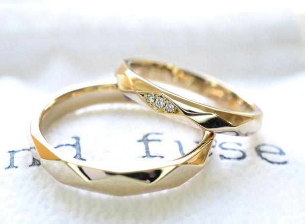 【湘南彫金工房 andfuse】【手作り結婚指輪デザインワックスコース】ダイアを3石セットした多面体のキラキラな手作り結婚指輪