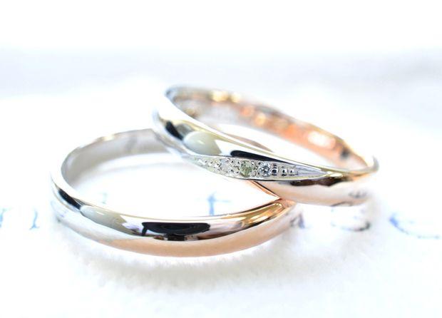 【湘南彫金工房 andfuse】【手作り結婚指輪デザインワックスコース】ななめのコンビネーションでとってもお洒落な手作り結婚指輪