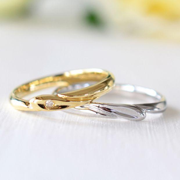 【湘南彫金工房 andfuse】重ねるとハート型になる結婚指輪【手作り結婚指輪デザインワックス】