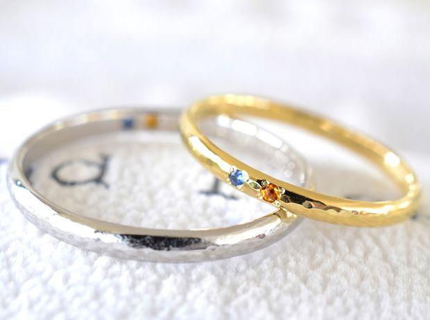【湘南彫金工房 andfuse】【手作り結婚指輪当日コース】お互いの誕生石を2石セットした甲丸みなもデザイン