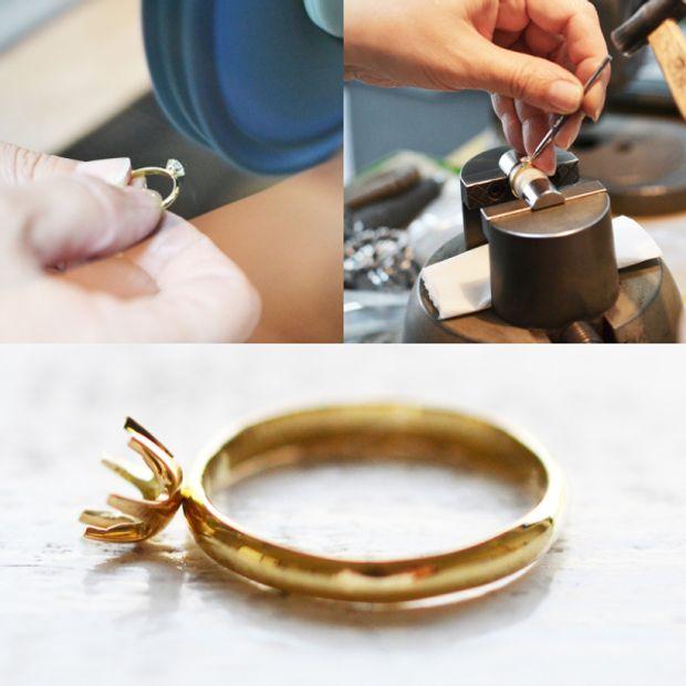 【湘南彫金工房 andfuse】【手作り婚約指輪】フクリン留めの婚約指輪(プラチナ、ゴールド、ダイヤモンド)