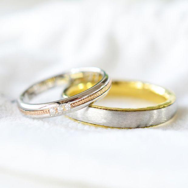 【湘南彫金工房 andfuse】【手作り結婚指輪デザインワックスコース】2色の組み合わせの結婚指輪