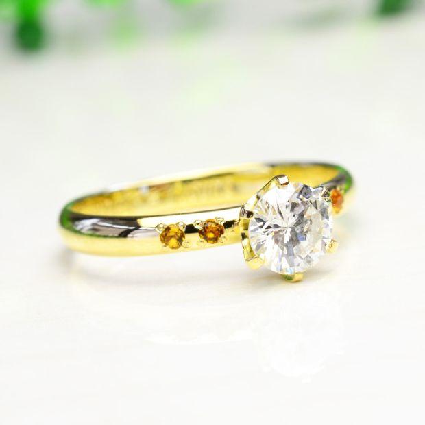 【湘南彫金工房 andfuse】手作り婚約指輪コース 6本爪の婚約指輪オプションで誕生石をセット