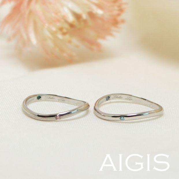 【AIGIS(旧:Jewel HAMA(ジュエルはま))】鍛造コース・手作り結婚指輪 二人で作ったウェーブラインがこだわり