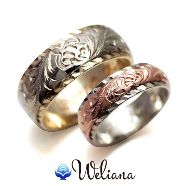 【Weliana(ウェリアナ)】オーダーメイド ペアマリッジリング デュアルトーン/バレル形状