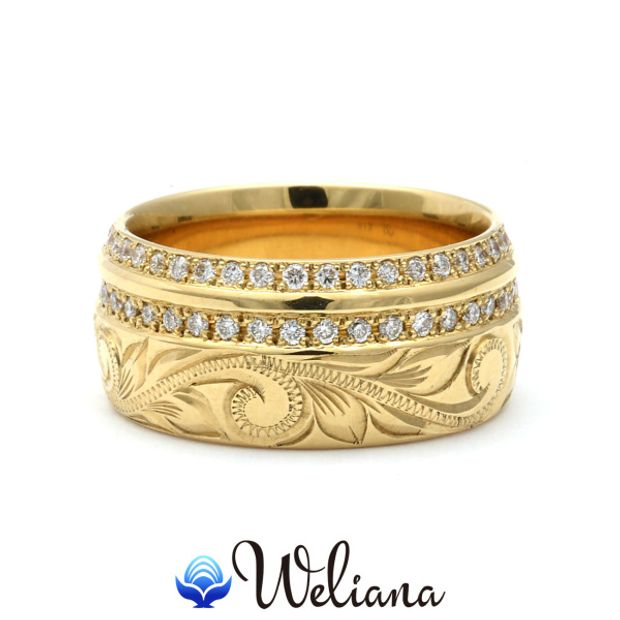 【Weliana(ウェリアナ)】ハワイアンエアルーム エタニティ ダイヤモンド エンゲージメント ウェディング  リング