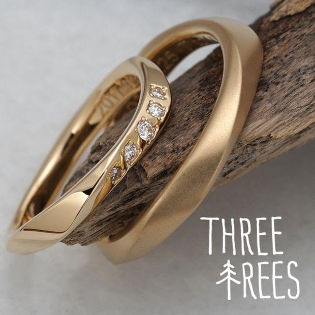 【THREE TREES(スリーツリーズ)】流れるラインにおふたりのやさしさを感じる結婚指輪