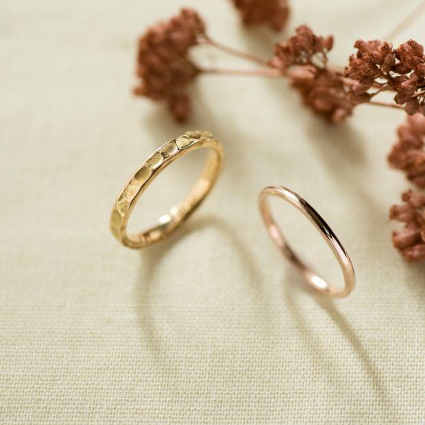 【横浜元町彫金工房】【ふたりでつくる結婚指輪】メンズK18YG&レディースK18PG(クリア仕上げ)