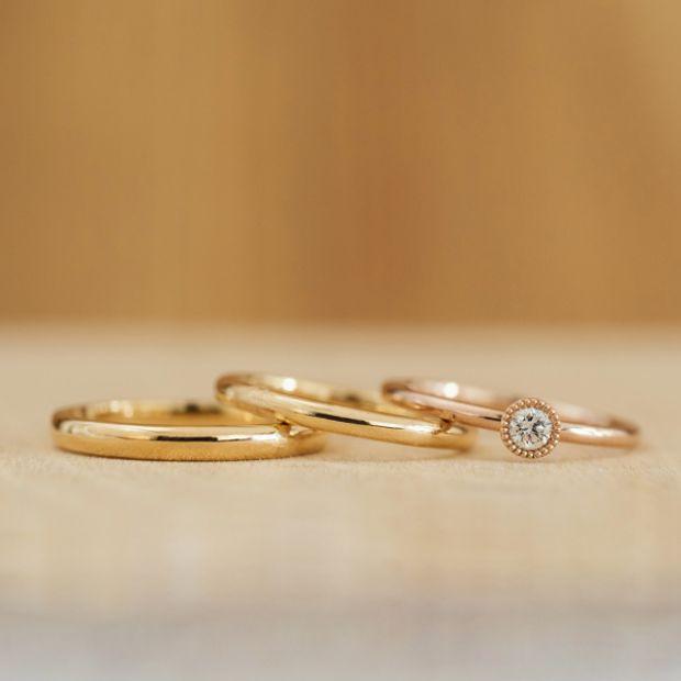 【横浜元町彫金工房】【結婚指輪・婚約指輪手作りコース(3本制作)】メンズK18YG&レディースK18YG&エンゲージK18PG(クリア仕上げ)