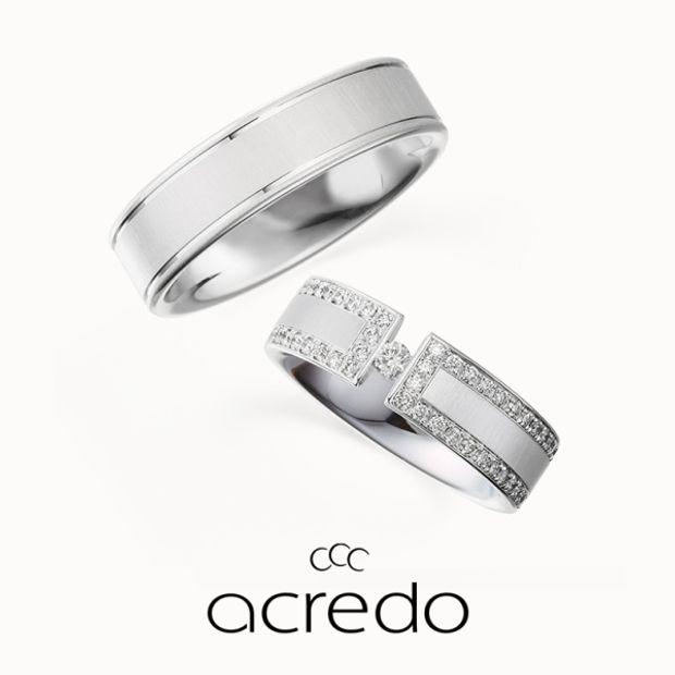 【acredo(アクレード)】【Le rose dans la vallee】リングの中央に浮いたように見えるダイヤモンドを宝物を表す美しい薔薇に見立てて