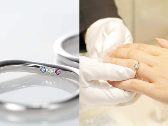 これだ!と思うリングやダイヤモンドにめぐり逢えたならば、ぜひご注文下さい。リングを一からお作りします。サイズを測り、お二人だけの刻印を決め、内側に入れる宝石を決めましょう。内側に入る石は「双子ダイヤモンド」がおすすめ。※内側の石はオプションになります。