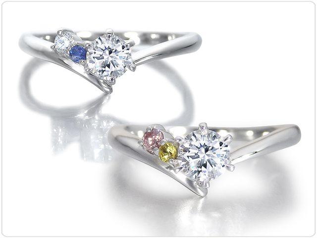 サイドストーンは、ダイヤモンドのほかに、誕生石やピンクダイヤモンド等の希少石もお選びいただけます。