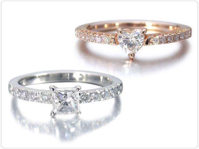 メインのダイヤモンドはラウンドだけでなく、ハートシェイプやスクエア型のプリンセスカットなどからもお選びいただけます。