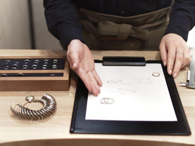 「作る指輪のデザインを決める」 お二人に合わせて選べるコースが二つ、デザインや予算など自分たちに合ったコースをお選びいただけます。 その場でお見積りさせていただきますので、料金や完成日などをご確認ください。