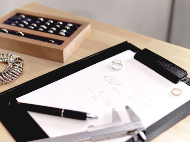 「作る指輪のデザインを決める」 選べるコースは二つ。デザインや予算など自分たちに合ったコースをお選び下さい。 素材やデザインを決め、指のサイズを測ってからお見積りを提示致します。料金や完成日をご確認いただいてから制作を進めます。