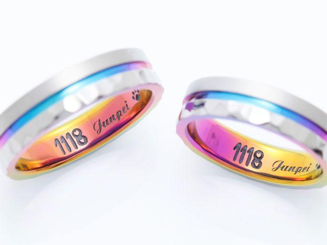 カラフルなグラデーションカラーの結婚指輪**
