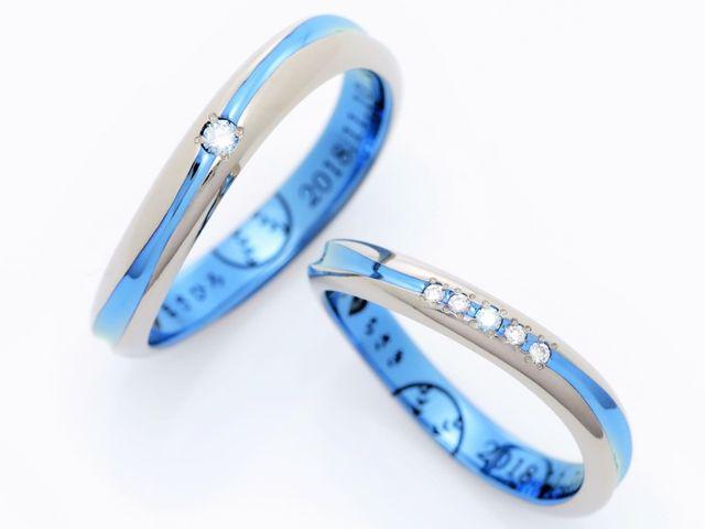 ˖°*海をイメージしたブルーの結婚指輪*°˖