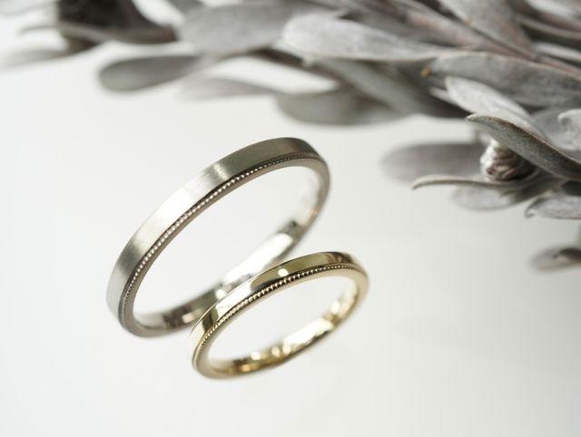ワンポイントアクセントが光る、ミルグレインのご結婚指輪