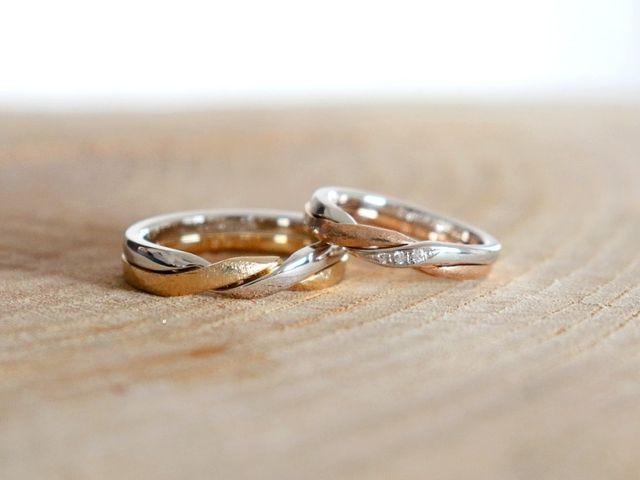 個性的なギメルリングを色違いでお仕立てした結婚指輪