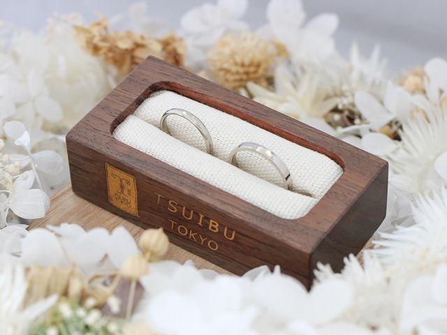ホワイトゴールドで槌目模様の手作り結婚指輪