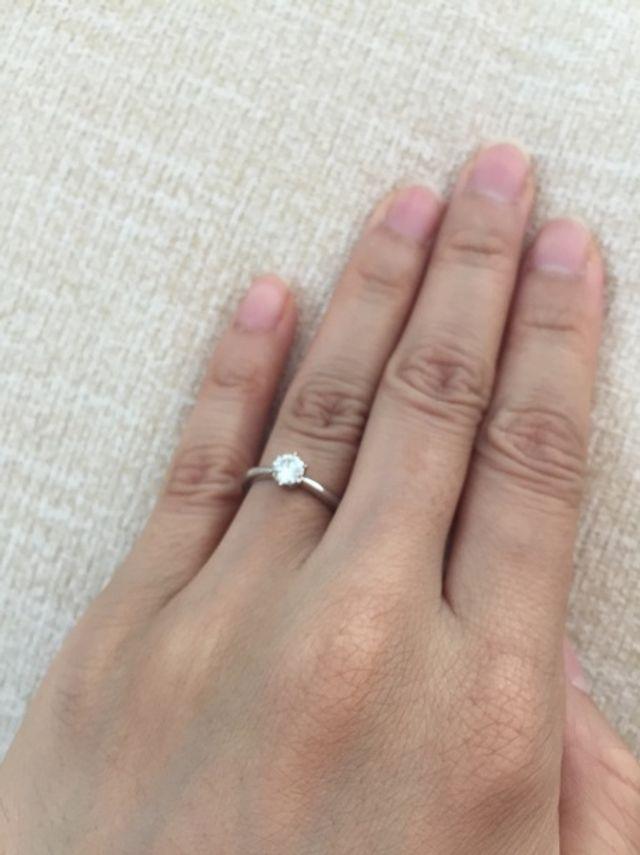 指にはめた写真です