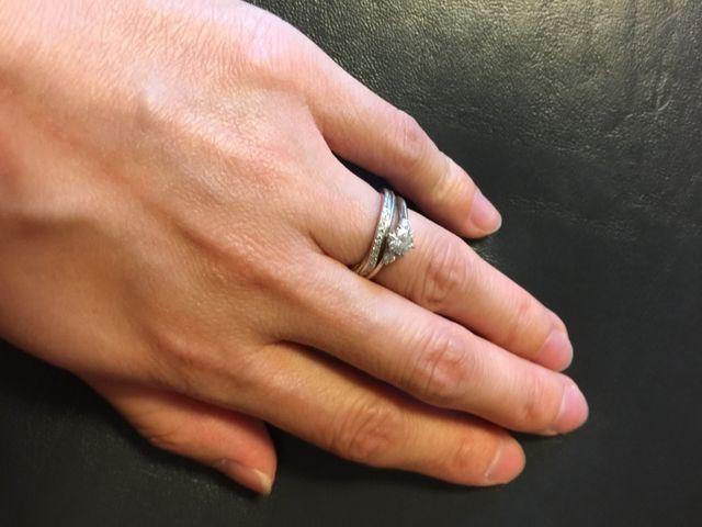 婚約指輪と2本付け